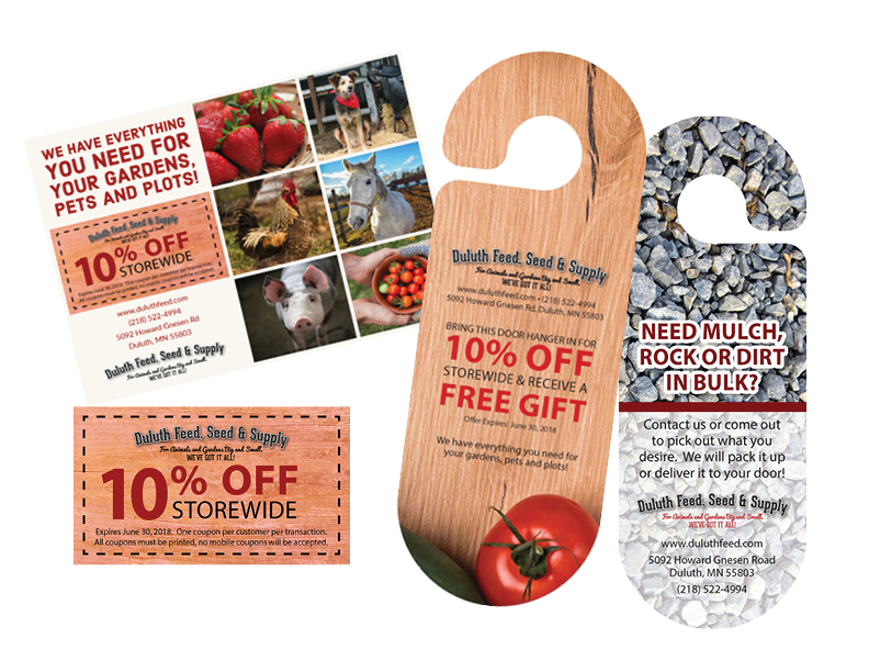 Duluth Feed Coupon Postcard and Door Hangers